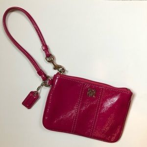 Hot Pink Patent Leather Coach Wristlet